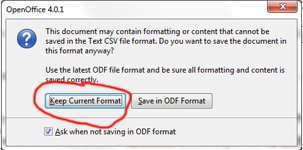 Open Office Keep Format